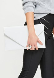 Missguided White Faux Leather Envelope Clutch Bag