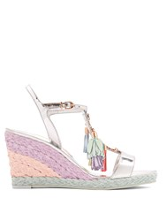 Sophia Webster Lucita Tassel Leather Wedge Sandals Silver Multi