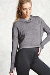 Forever 21 Active Marled Jersey Hooded Top Charcoal Heather