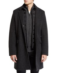 Andrew Marc New York Car Coat With Removable Puffer Bib Charcoal