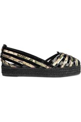 Schutz Cisco Patent And Snake Effect Leather Espadrilles Black