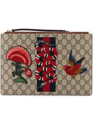 Gucci 'Gg Supreme' Embroidered Pouch Unisex Calf Leather Canvas One Size Nude Neutrals