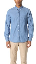 Officine Generale Denim Button Down Shirt Stone Wash