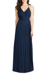 Dessy Collection Ruffle Back Chiffon Gown Midnight