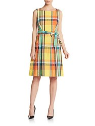 Anne Klein Plaid Cotton Dress Tangerine