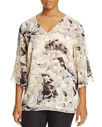 Calvin Klein Plus Floral Print Bell Sleeve Blouse Soft White Combo