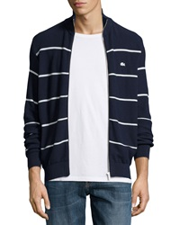 Lacoste Striped Jersey Zip Up Sweater Navy