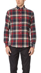 Hartford Paul Plaid Shirt Navy Red Beige