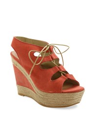 Andre Assous Cassie Espadrille Wedge Suede Sandals Coral