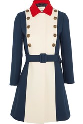 Gucci Embellished Color Block Wool Coat Royal Blue