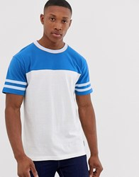 Bellfield Cut And Sew T Shirt With Blue Tipping In White