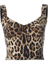 Dolce And Gabbana Leopard Print Bralet Top Nude Neutrals