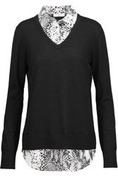Equipment Cecile Washed Silk Paneled Wool And Cashmere Blend Sweater Black