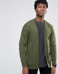 Asos Longline Cardigan In Brushed Yarn Deep Olive Green