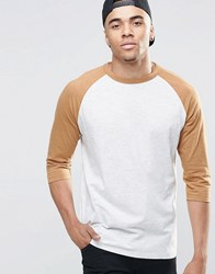 New Look Raglan T Shirt In Grey Marl And Camel With 3 4 Length Sleeves Grey