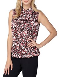 Tahari By Arthur S. Levine Ruffle Trimmed Floral Printed Blouse Ivory Black