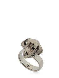 Mg Trends Silver And Crystal Labrador Ring
