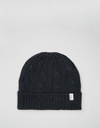 Selected Homme Beanie In Cable Knit Navy