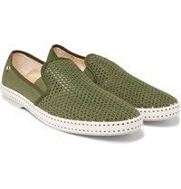 Rivieras Canvas And Cotton Mesh Espadrilles Green