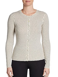 Cashmere Saks Fifth Avenue Polka Dot Cashmere Cardigan Eclair Black