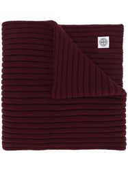 Stone Island Thick Ribbed Knit Scarf Red