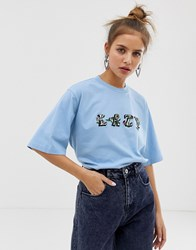 Lazy Oaf Relaxed T Shirt With Floral Print Blue