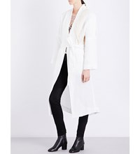 Isabel Benenato Knit Detail Linen Coat Milk