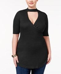 Almost Famous Trendy Plus Size Mock Neck Cutout Top Black