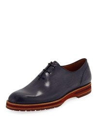 Berluti Leather Lace Up Oxford Navy