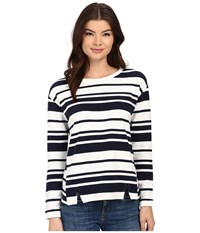 Brigitte Bailey Benny Striped Top Navy White Women's Clothing Blue