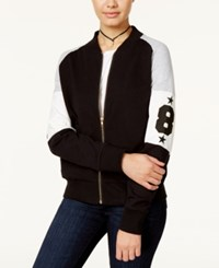 Say What Juniors' Varsity Colorblocked Bomber Jacket Black Grey
