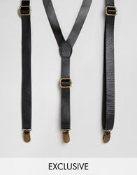 Reclaimed Vintage Leather Braces Black Black