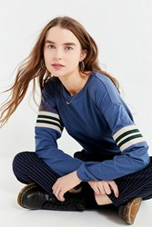 Urban Outfitters Uo Tipped Striped Long Sleeve Tee Navy