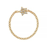 Talia Naomi Wish Upon A Star Chain Ring Gold
