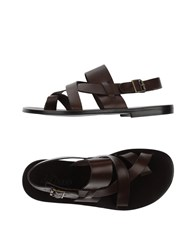 Del Paso Footwear Thong Sandals Men Dark Brown
