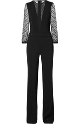 Adam By Adam Lippes Stretch Crepe And Point D'esprit Jumpsuit Black