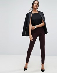 Asos High Waist Trousers In Skinny Fit Chocolate Brown