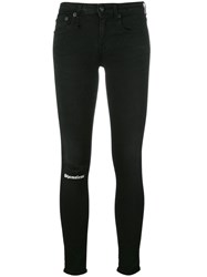R 13 R13 Distressed Patch Skinny Trousers Black