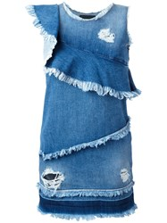 Marco Bologna Asymmetric Raw Flounce Denim Dress Blue