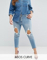 Asos Curve Kimmi Boyfriend Jean In Lillian With Rips And Stepped Hem Blue