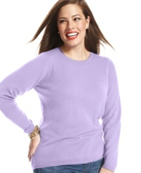 Charter Club Plus Size Cashmere Crew Neck Sweater In 14 Colors Only At Macy's Larkspur