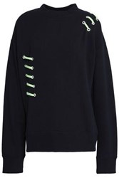 Versus By Versace Lace Up French Cotton Terry Sweatshirt Black
