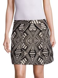 Alice Olivia Loran Structured Geometric Print Skirt Black Cream