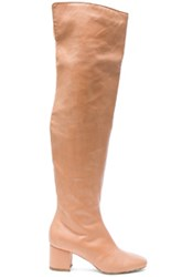 Brother Vellies Fwrd Exclusive Over The Knee Leather Kaya Boots In Pink Neutrals Pink Neutrals