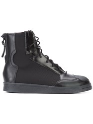 Yohji Yamamoto Back Zip Lace Up Hi Tops Black