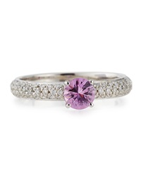 Roberto Coin Pink Sapphire Solitaire Ring With Pave Diamond Band Size 6.5