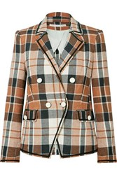 Veronica Beard Utah Double Breasted Checked Cotton And Linen Blend Blazer Brown
