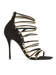 Schutz Suede Strappy Sandals Black
