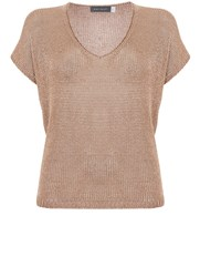 Mint Velvet Rose Gold Tape Yarn Tee Metallic