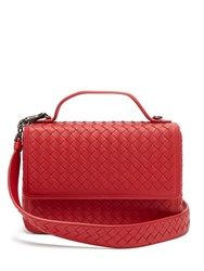 Bottega Veneta Intrecciato Woven Leather Satchel Red